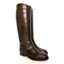 W-13361226 New Gucci Crocodile Alligator Leaf Tall Boots Marked Size 8 / 9