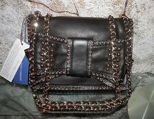 RARE! $395 NWT REBECCA MINKOFF Sweetie Bow Black Leather Gold Stud Shoulder Bag