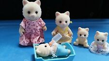 sylvanian families calico critters white chantilly cat with child and babies