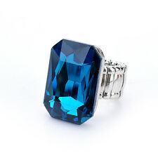 Fashion Huge Faceted Cuboid Diamond Emerald Ruby Sapphire Ring Jewelry-Blue