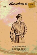 Vintage 40's BLACKMORE 5806 WW2 MEN'S LUMBER/BOMBER JACKET Sewing Pattern