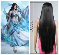 "40"" /100cm Women Fashion Cosplay Anime Heat Resistant Black Straight Long Wig"
