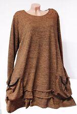 Lagenlook STRICK TUNIKA Kleid Hängerchen Zipfel A-Form EG ca 50 52 54 Neu