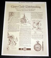 1919 OLD MAGAZINE PRINT AD, GRUEN GUILD WATCHMAKING, FOR FINE POCKET TIMEPIECES!
