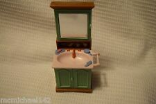 Fisher Price Loving Family Dollhouse Green Bathroom Vanity Sink medicine cabinet