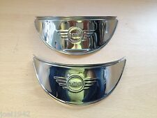 MINI  HEADLIGHT PEAKS (EMBOSSED) STAINLESS STEEL -  CLASSIC CAR. BRAND NEW