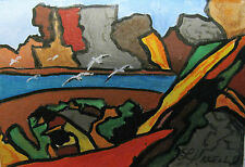 "ORIGINAL ACRYLIC ART ACEO PAINTING BY LJH  ""SEAGULLS OVER CANYON""  A288"