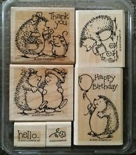 Stampin' Up HEDGEHOG HAPPINESS Set of 6 Wood Mounted Rubber Stamps Lot Birthday