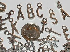 27pc Inc Tiny Letters charm bead necklace miniature pendants findings alphabet *