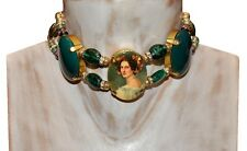 VINTAGE GORGEOUS VICTORIAN STYLE FX CAMEO LADY PORTRAIT AND GREEN GLASS NECKLACE