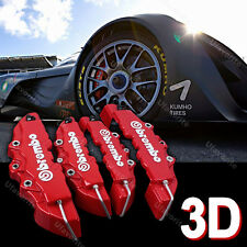 3D Car Brake Caliper Cover Brembo Style Front Rear Universal Disc Racing Red p08