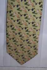 Foxes on a light green background Silk Tie