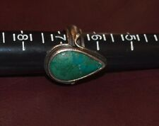 Antique Sterling Silver and Green Turquoise Drop/Tear Ring Size 6.5