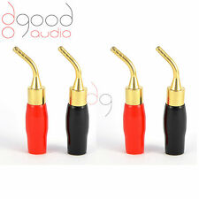 4 x placcato oro Altoparlante angolato pin 2mm BANANA PLUG Qualità Connettori Morsetto
