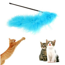 Cat Kitten Pet Teaser Turkey Feather Interactive Stick Toy Wire Chaser Wand PMUS