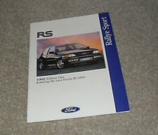 Ford RS Brochure 1992 Ed 1 - Fiesta RS1800 Escort RS2000 Sierra RS Cosworth 4X4