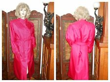 Vtg 16 Shiny Pink Rubber Back Raincoat Trench Coat Rain Jacket Slicker w/ liner