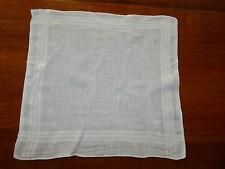 MOUCHOIR EN TISSU coton blanc brodé Monogramme M 44X44 cm ANCIEN VINTAGE