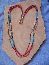 "3 Strand Turquoise Coral, Olive Shell Heishi Sterling Silver Necklace 23"" Navajo"