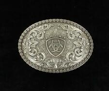 Ariat Western Belt Buckle Filigree Logo Oval Silver A37004