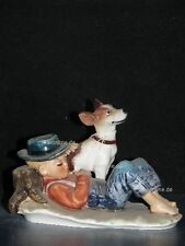 +*A014118_02 Goebel  Archivmuster N.Rockwell Figurines Boy Resting Dog Nearby