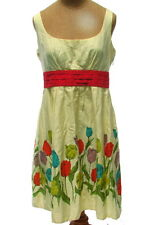 Anthropologie Brand Maeve Ladies Fancy Tulip Print Dress Yellow Cotton Lined 6