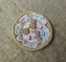 "Triplet Babies each 1.5"", with Round Basket, Blanket and Blocks Polymer Clay"