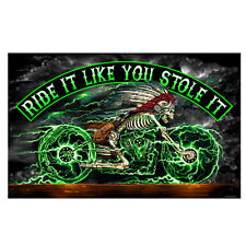 Ride It Like You Stole It Skeleton Motorcycle Biker Flag or Wall Banner #1062