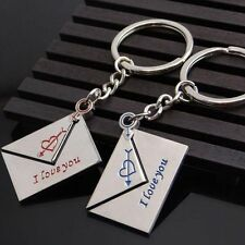 Pair New I Love You Fashion Gift Lettering Lovers Key Ring Key Chain Envelope