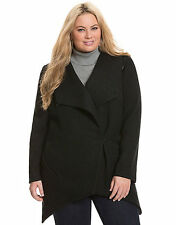 NEW LANE BRYANT PLUS SIZE BLACK ASYMMETRIC BOILED WOOL BLEND COAT JACKET 18/20