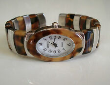 SILVER/TORTOISE SHELL FINISH  DESIGNER STYLE WOMEN'S BANGLE CUFF WATCH