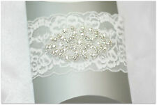 Vintage IVORY lace WEDDING garter for Bride crystal wedding garter + BONUS.