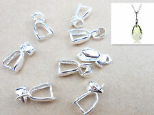 10X Size M 925 Sterling Silver Findings Bail Connector Bale Pinch Clasp Pendant