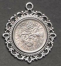 1966 lucky Sixpence charm Pendant 50th birthday wedding anniversary Royal Queen
