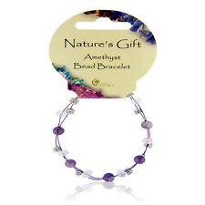 PURPLE Amethyst Crystal Ball, cordone & Charm British fossili Natures Bracciale Regalo