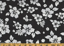 Tropical Hibiscus Floral Cotton Fabric Black Hawaiian Print BTY  #252-3