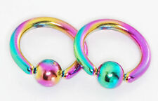 "Pair 14g 5/16"" Rainbow Titanium Plated Captive Bead Ring Curved Barbells"