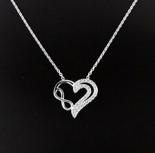 Womens 925 Sterling Silver CZ Pave  Infinity Heart Necklace 16""