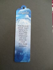 BOOKMARK ANGELA Meaning of Name Personalised CHRISTMAS STOCKING Gift Present