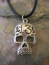 Biker Lucky Number 13 Skull Charm Pendant Leather Necklace-Lucky No 13