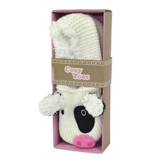 Cosy Toes Animal Slipper Socks - Cow Design In Gift Box Size 4-7