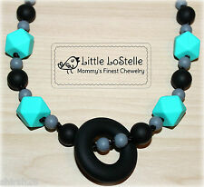 Nursing Jewelry Teething Necklace Silicone Baby Teether Black Gray Turquoise New