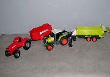 Lot 2 Tracteurs 1 métal et 1 Plastique avec Remorque  30 et 36 cm