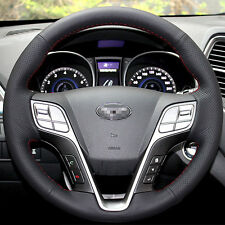 Black Leather Hand-stitched Car Steering Wheel Cover for Hyundai Santa Fe