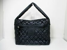 Authentic CHANEL Black Coco Cocoon Nylon x Leather Shoulder Bag