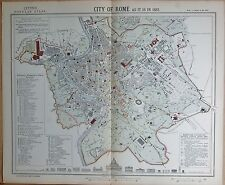 1883  LARGE ANTIQUE TOWN PLAN CITY OF ROME AS IT IS IN 1882
