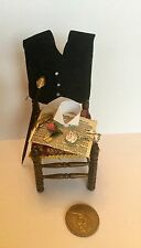1:12  Dolls House miniature MENS DRESSED CHAIR CANE COLLAR POCKET WATCH