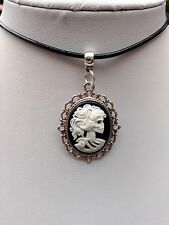"Gothic Lady Vintage skull Black & White Cameo Leather cord 13"" choker"