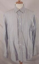 ISAIA Napoli Blue Stripe Dress Shirt Size 17.5 44 Linen Blend. MADE IN ITALY