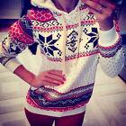 Women Hoodie Sweatshirt Jumper Sweater Pullover Top Coat Christmas Hoody 7Colors